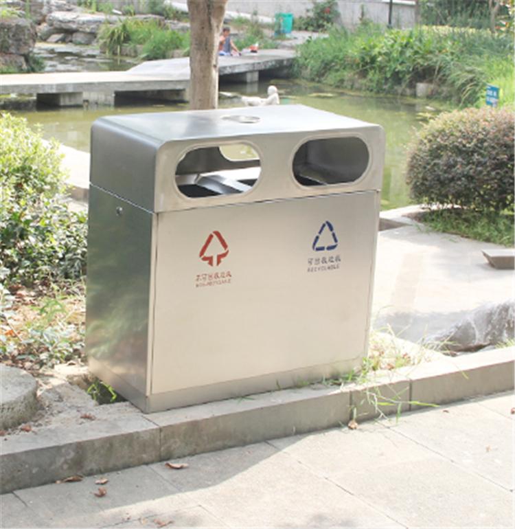 户外不锈钢垃圾桶带烟灰缸