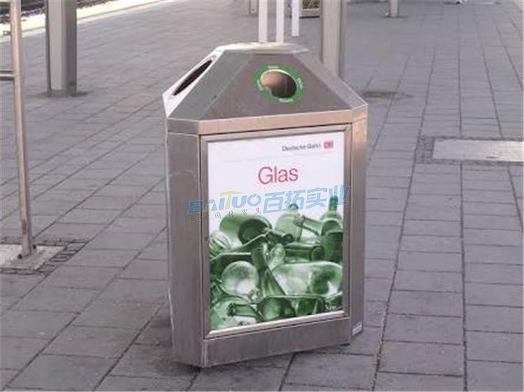 不锈钢户外创意垃圾桶实物图