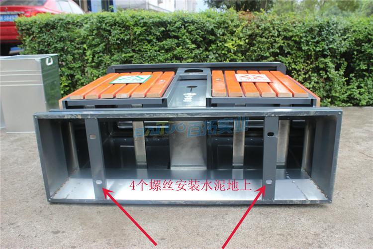 户外多功能垃圾桶底部细节展示图