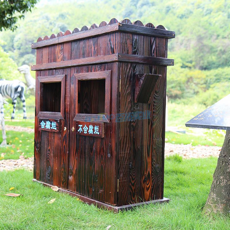 公园木制垃圾桶侧面展示图