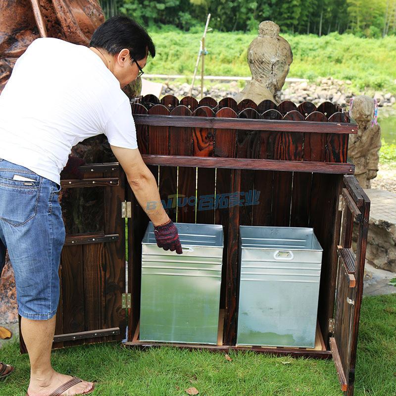 公园木制垃圾桶内部结构图