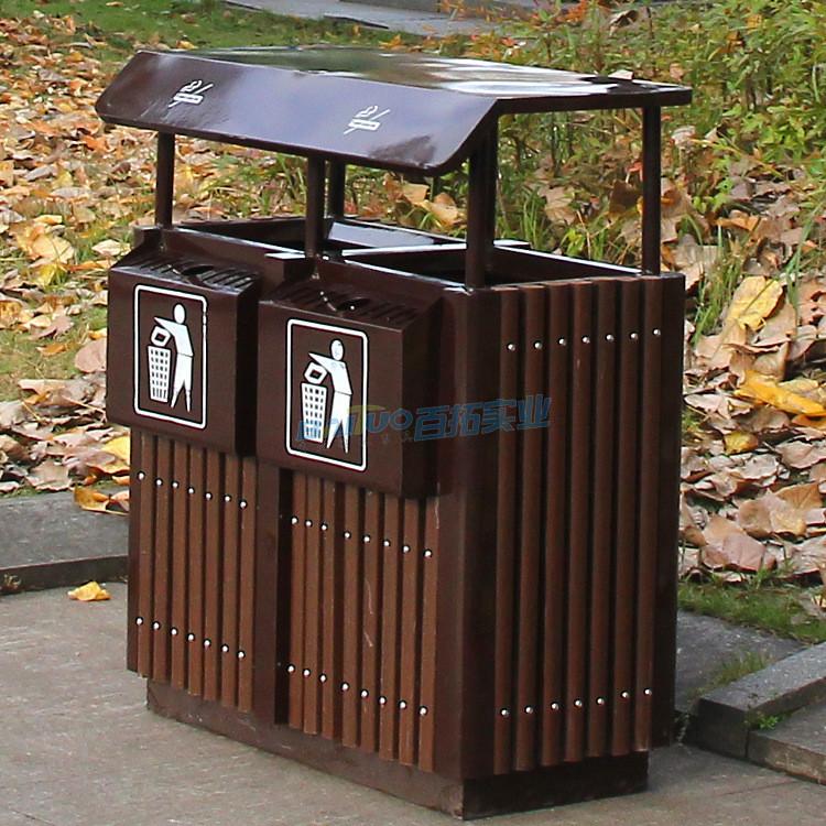 户外分类钢木垃圾桶街道实图