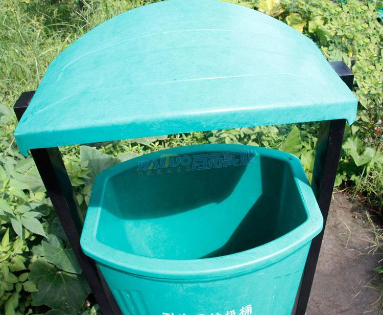 户外专用垃圾桶顶部细节图