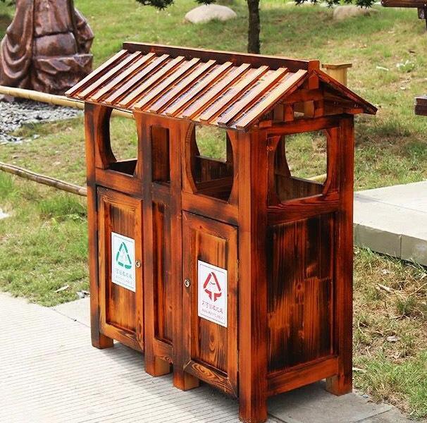 室外防腐木垃圾桶