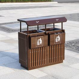 戶外分類鋼木垃圾桶