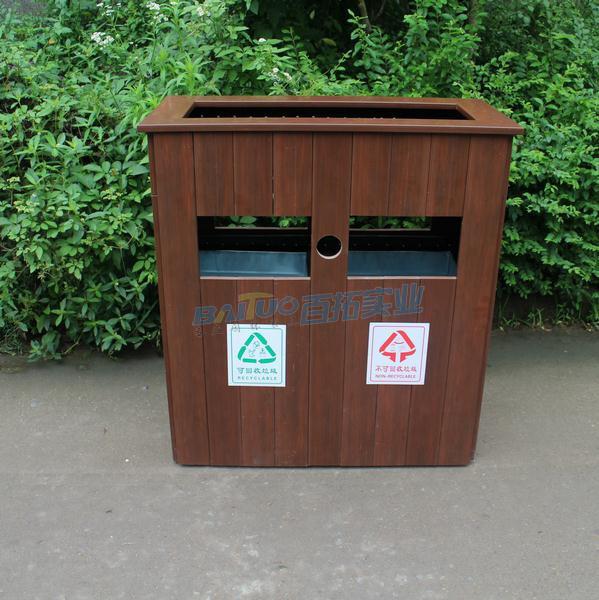 户外木垃圾桶