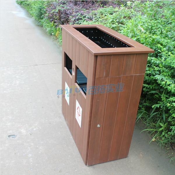 户外木垃圾桶侧面展示图