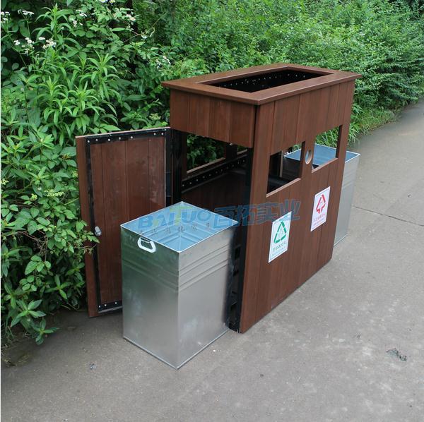 户外木垃圾桶结构展示图