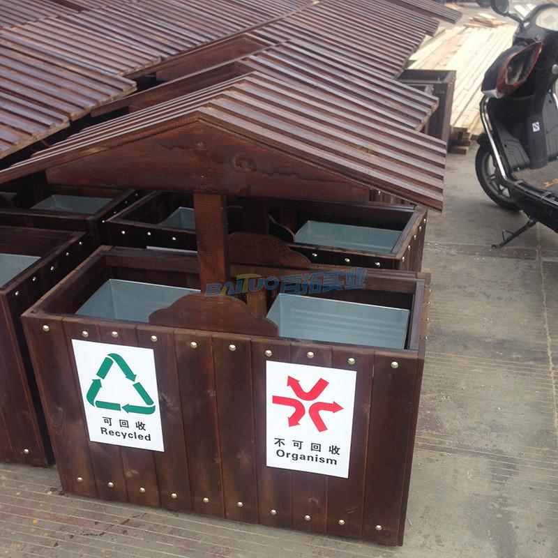 室外木质垃圾桶产品出厂