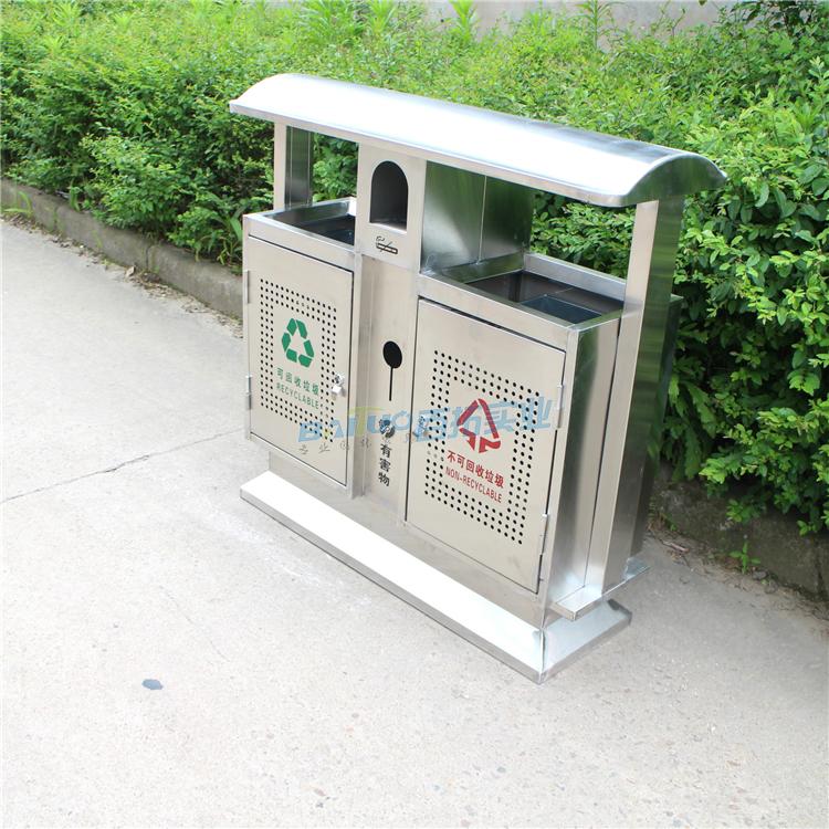 户外垃圾桶不锈钢侧面展示图