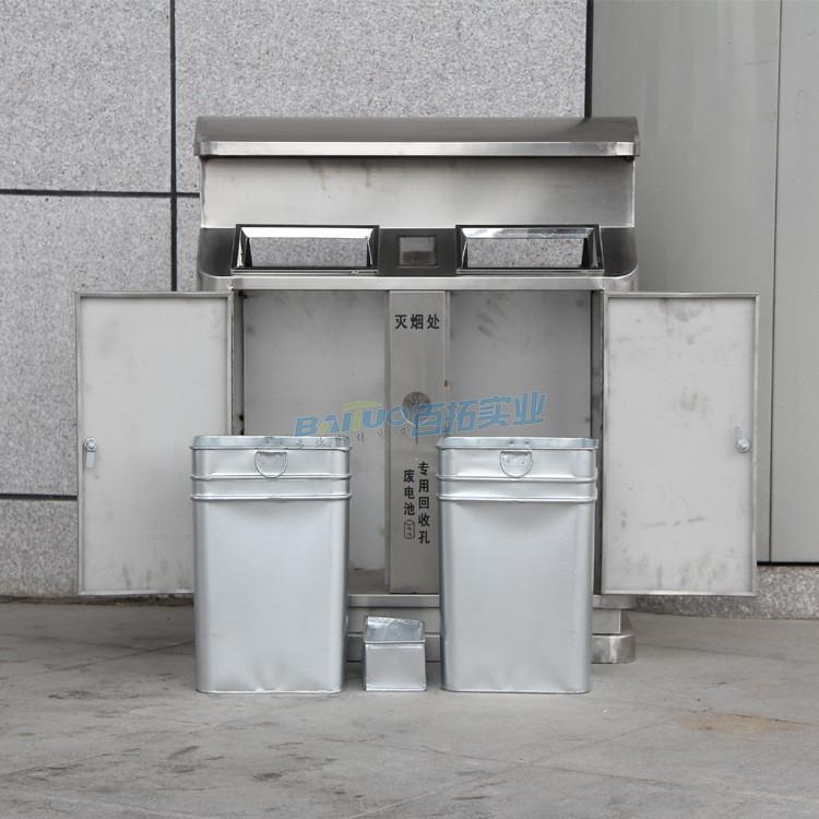 304不锈钢户外垃圾桶结构图