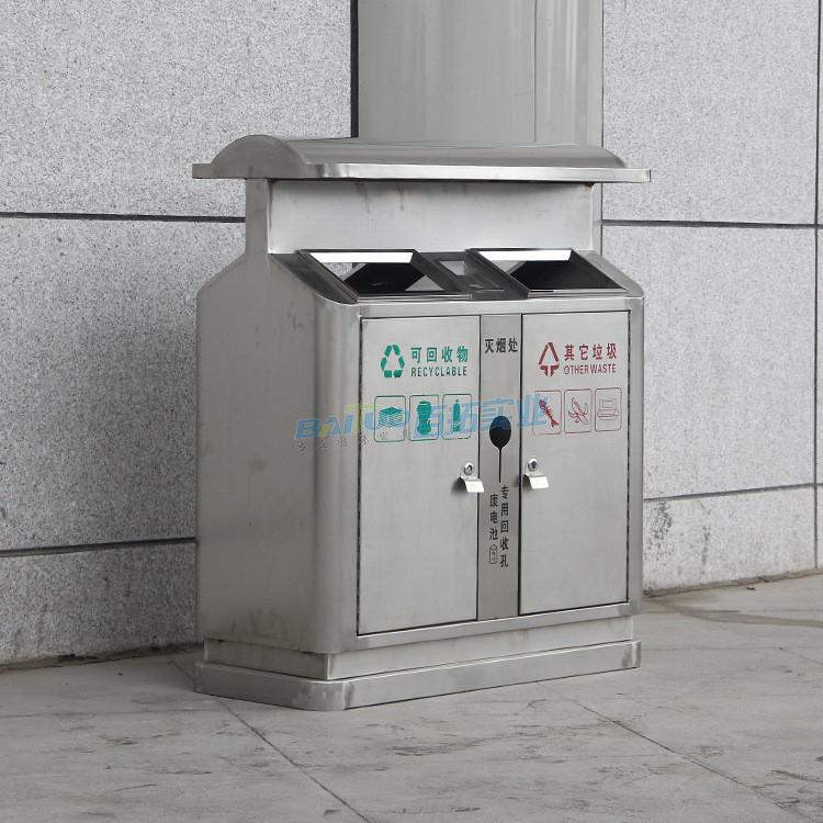 现代风公共垃圾桶侧面图