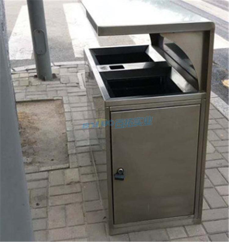 定制不锈钢垃圾桶小区户外侧面展示图