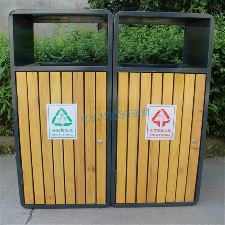 木质户外垃圾桶展示图