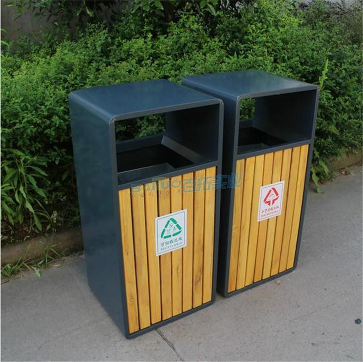 木质户外垃圾桶实物图