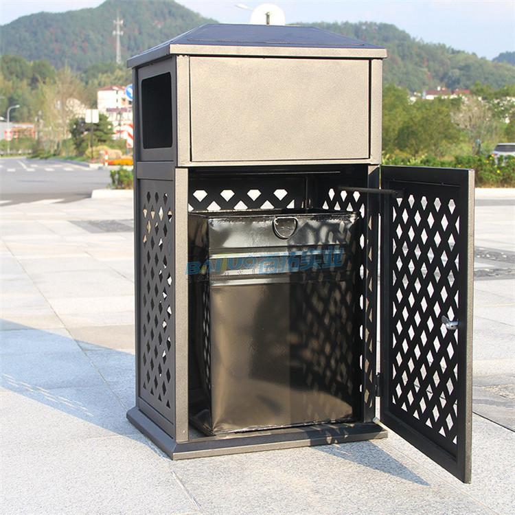 欧式铁艺户外垃圾桶结构图