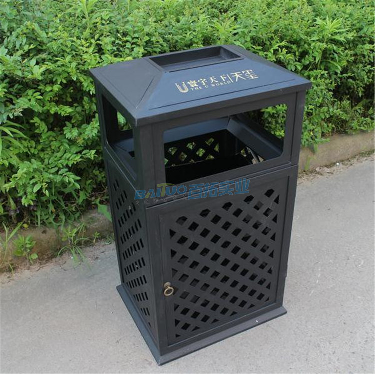 欧式铁艺户外垃圾桶实物图
