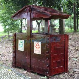 室外木質垃圾桶