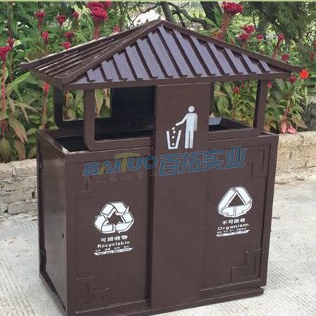 景区仿古垃圾桶展示图