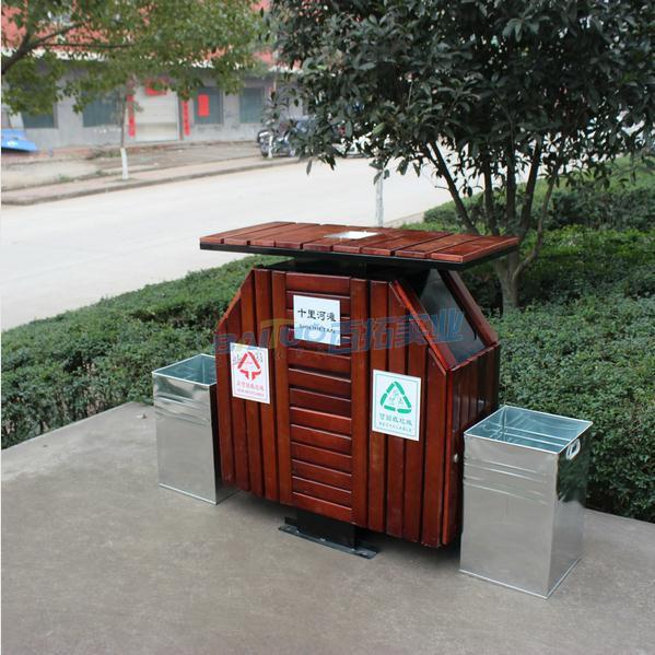 防腐木户外垃圾桶