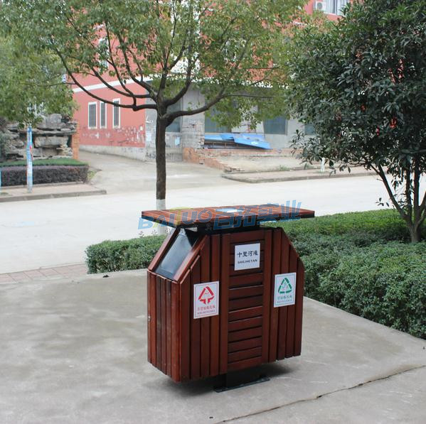 防腐木户外垃圾桶实物图