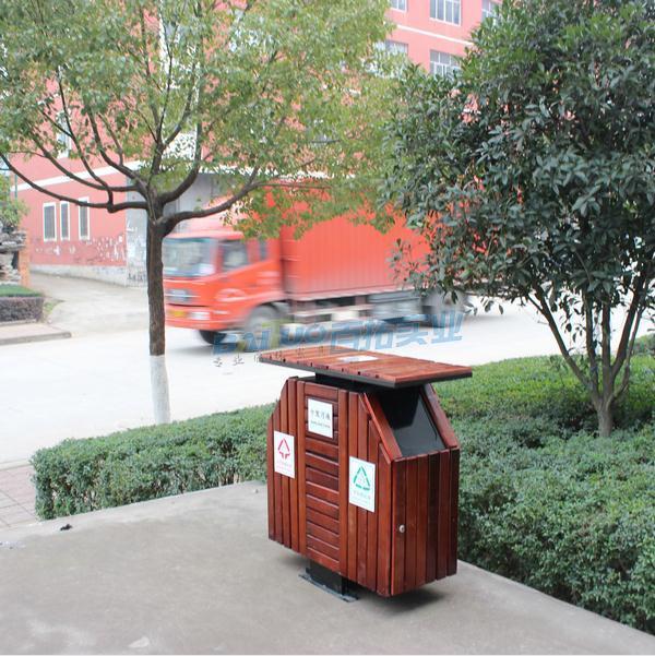 防腐木户外垃圾桶街道图片