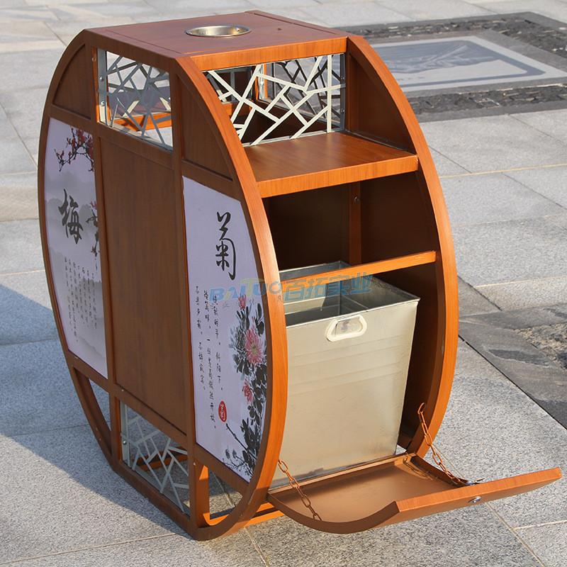 景区户外垃圾桶侧面结构图