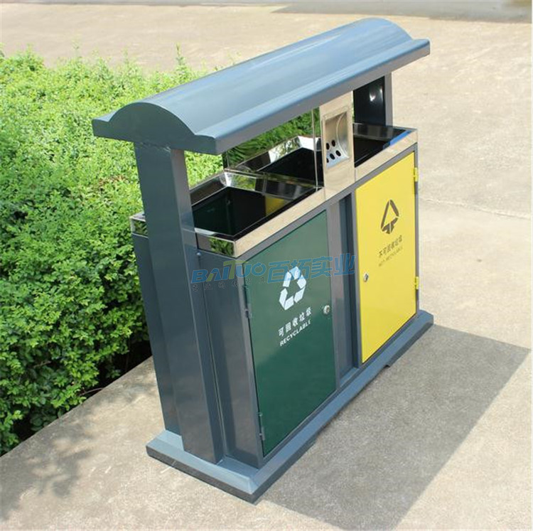 环保室外垃圾桶侧面图