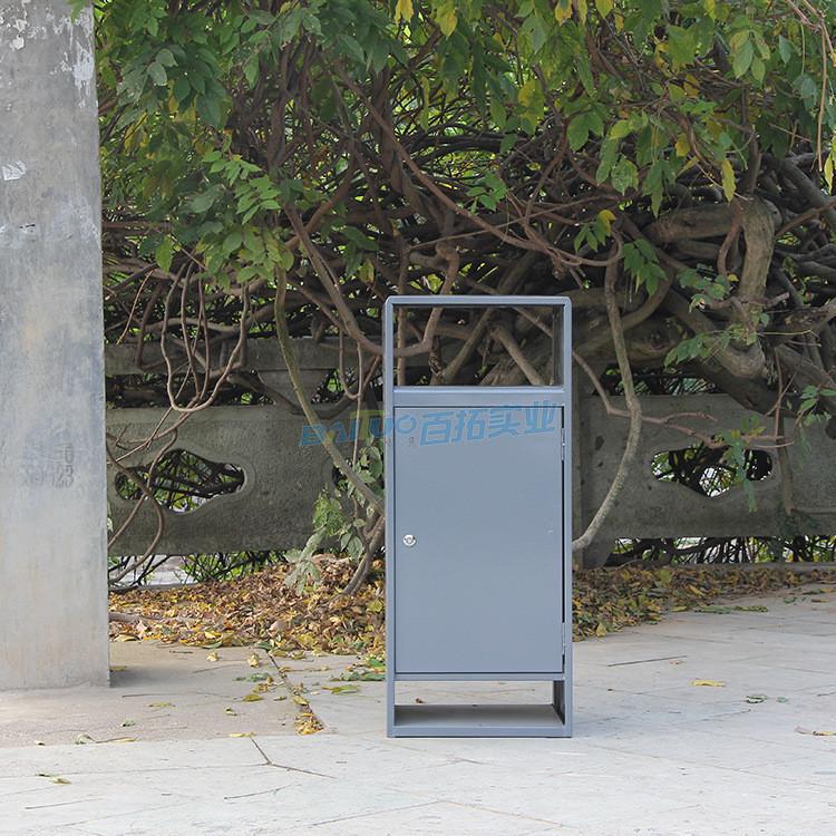 户外铁制垃圾桶正视图