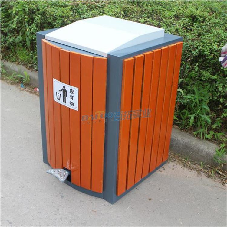 成品户外钢木垃圾桶
