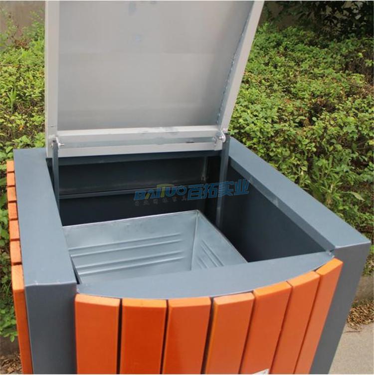 成品户外钢木垃圾桶细节图
