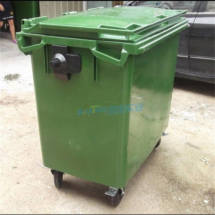 环卫专用垃圾桶户外侧面图