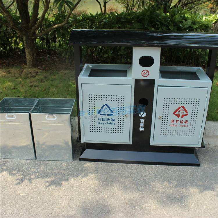 户外分类环保垃圾桶及内筒展示图