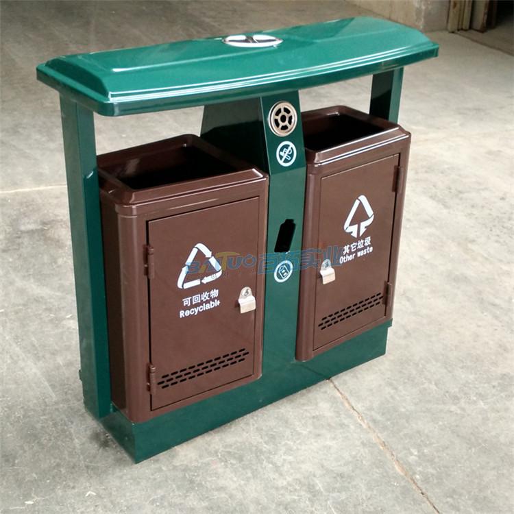 小区垃圾桶放置侧面展示图