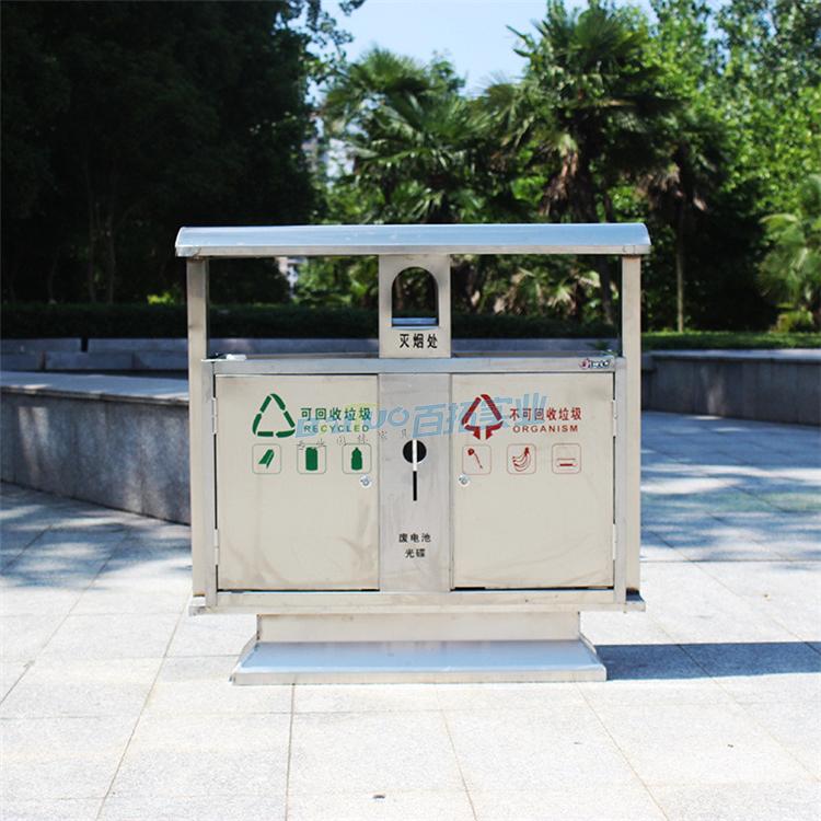 公园室外垃圾桶实物图