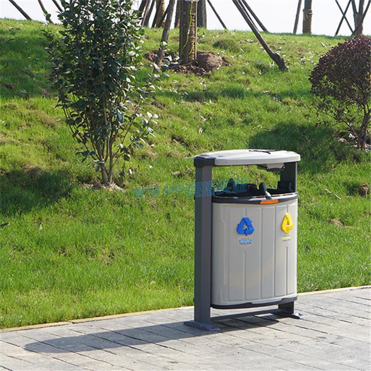 室外铁垃圾桶侧面展示图