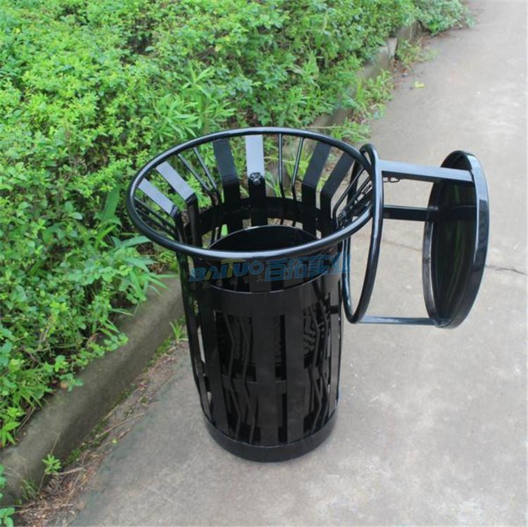 公园铁垃圾桶结构展示图