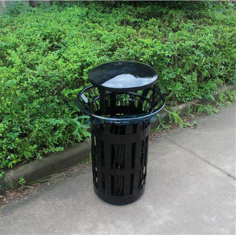 公园铁垃圾桶实物图