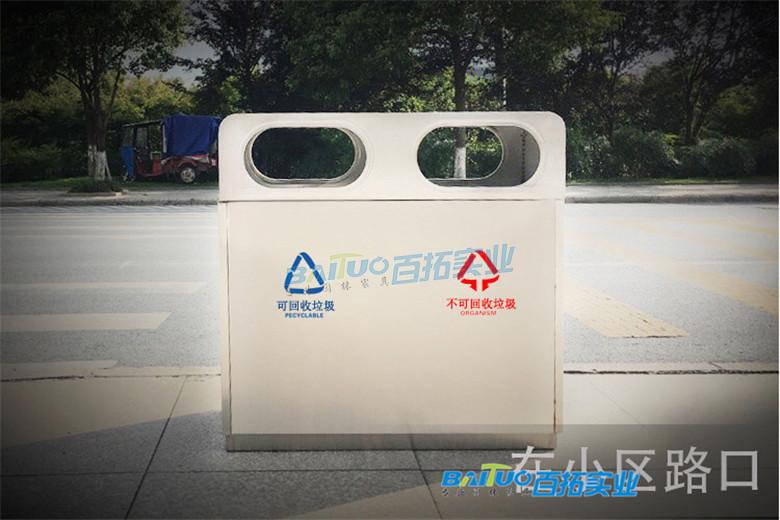 街道的垃圾桶路口实景展示图