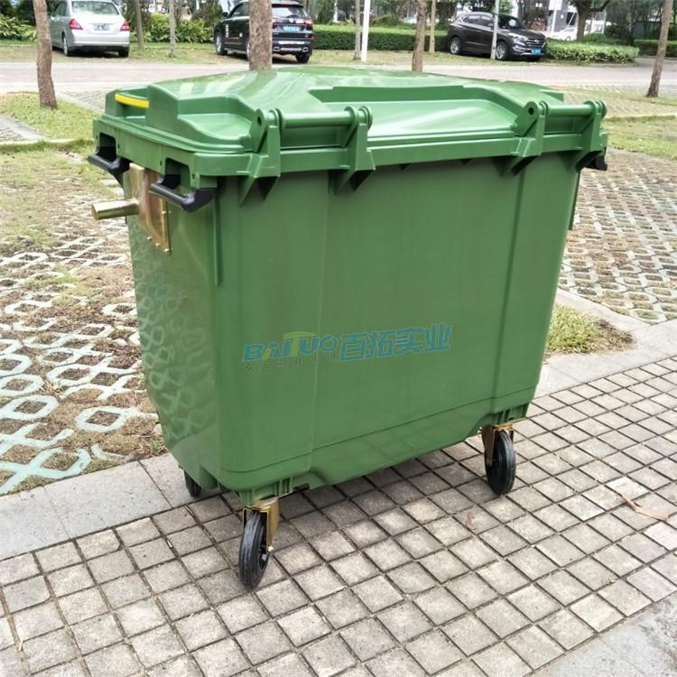 室外公共垃圾桶背面展示图