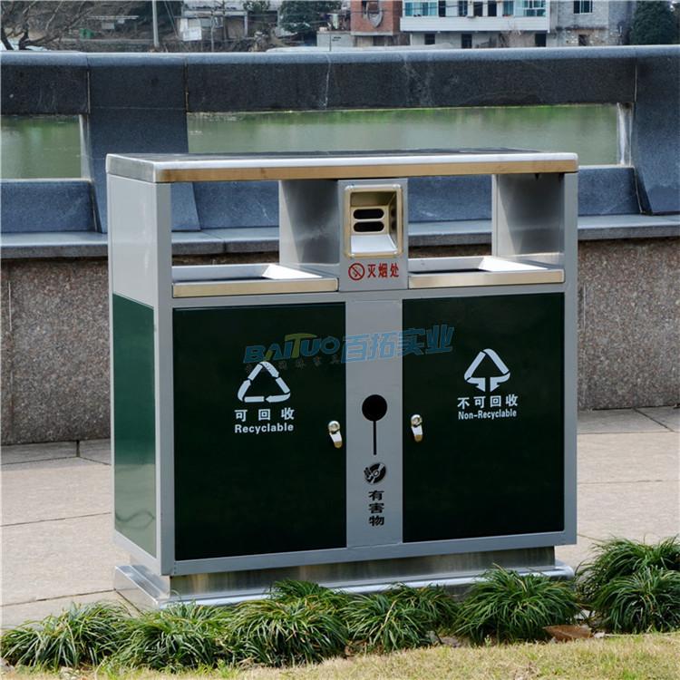 校园用铁质垃圾箱实物图