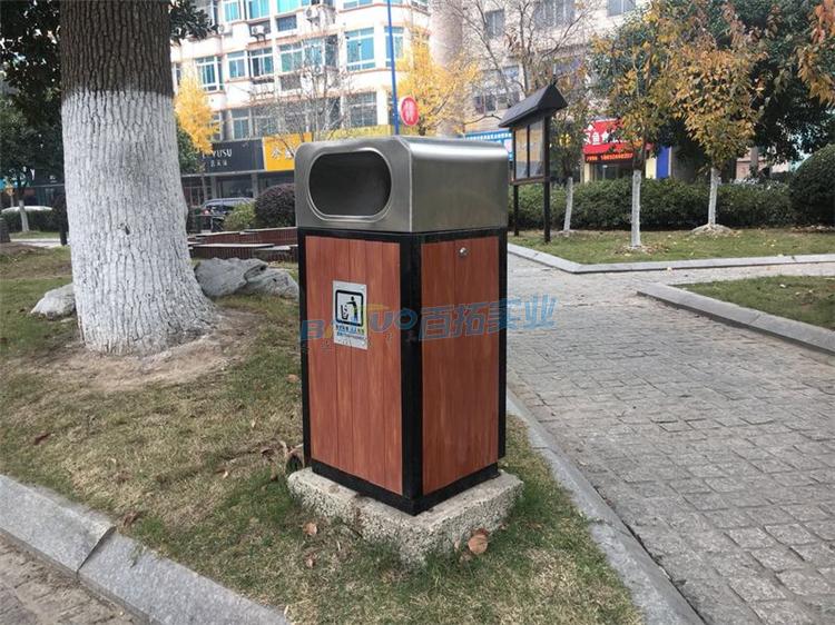 公共不锈钢垃圾桶侧面展示图