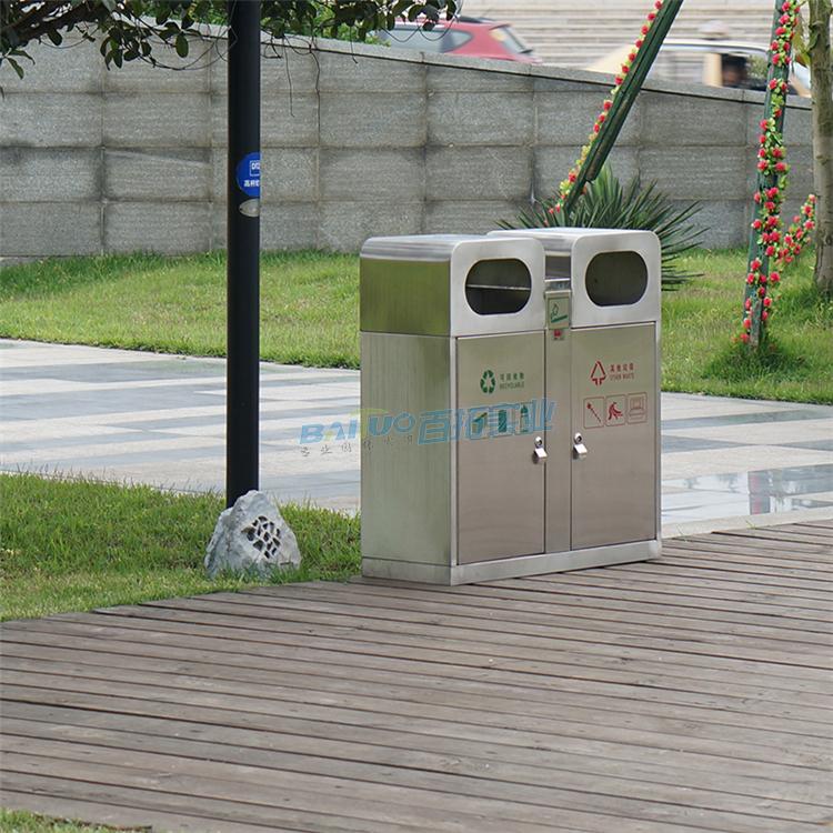 德国公共垃圾桶侧面展示图