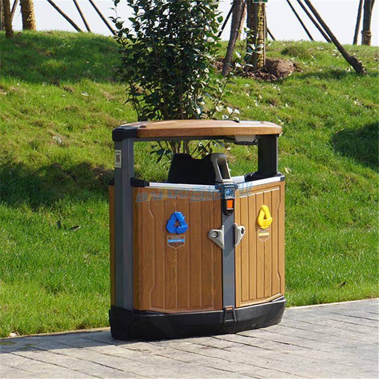 景区生态垃圾桶侧面展示