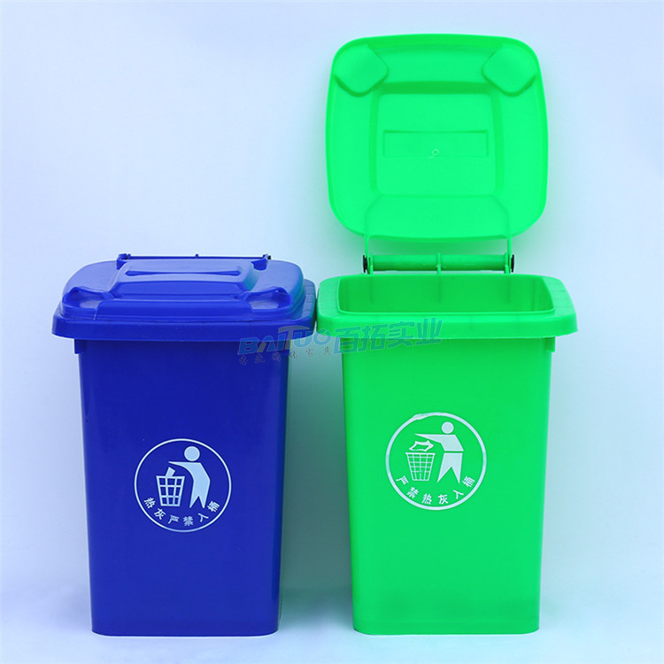 公园绿色垃圾桶实图展示