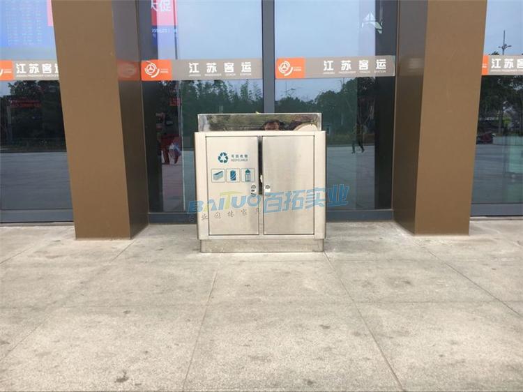 步行街专用垃圾桶正面图