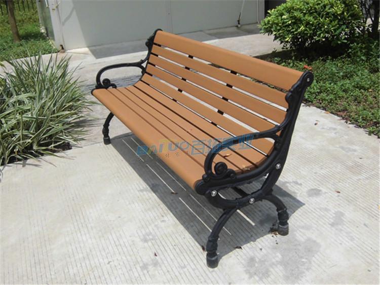 户外实木园林休闲凳侧面展示图