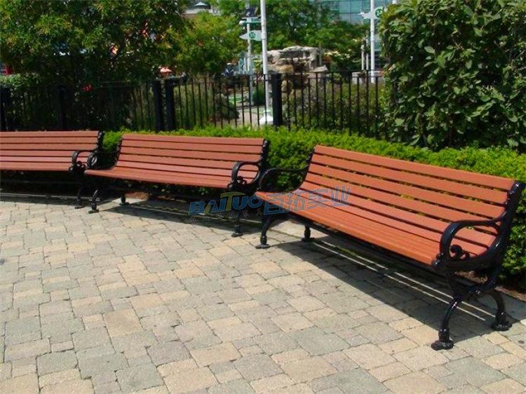 户外实木园林休闲凳实景拍摄