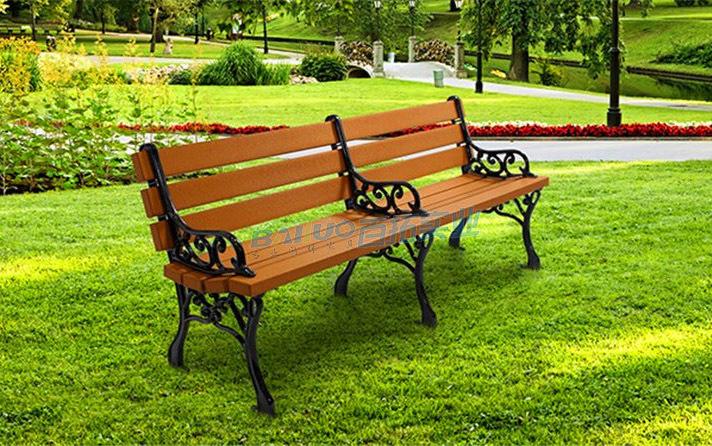 户外实木靠背长凳子实物图