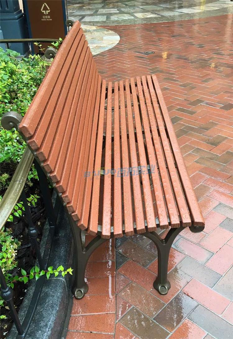 户外樟木坐凳侧面图